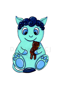 Little Teddy Monster Print - childrens art prints, nursery artwork, cute art