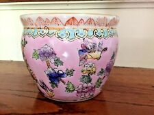 Antique Chinese Koi Goldfish Bowl Pink Ceramic Pottery Hibiscus Bluebird Sparrow