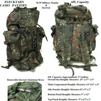 65L Rucksack / Bug Out Bag / Survival Pack(German Army Style Flecktarn Camo) NEW