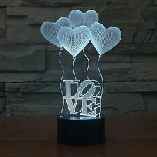 3D Lamp Love Heart Globe 7 Color Changing Night Light Touch Switch LED Desk