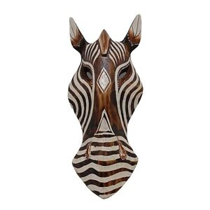 African Safari Brown Horse Wooden Mask Hand Carved Wall Hanging Folk Art 10 inch