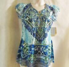 ONE WORLD~Bright Blue/ Turquoise Multi Print~Cap Sleeve~Sublimation Top~Med~NEW