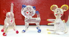 """Vintage Hard Plastic Animals Elephant Cat Mouse 2.5"""" to 3"""" Adorable 1950-60's"""