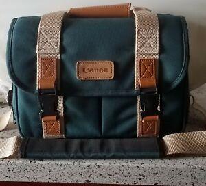 Vintage CANON CAMERA BAG Green, Pockets Shoulder Strap dividersCirca 1994