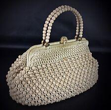 Ancien sac à main mini en forme de porte monnaie perle et fils tressé rare