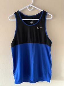 Nike Dri-Fit Tank Top Sleveeless Workout Running Shirt Blue & Black Men's Large