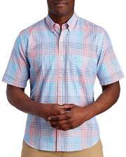 TailorByrd Mens Aqua Checks S/S Cotton Golf Button-Front Shirt NWT $89 Size S
