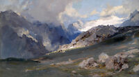Dream-art Oil painting field and mountains landscape before storm hand painted