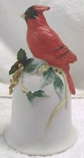 """Vintage Bells-""""Cardinal On Fruit Tree"""" Bell-5"""" Tall-Very Nice-Great Patina!"""