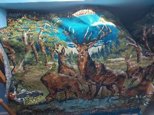 Extra large Forest scene with stag and deer 100% Cotton Wall Hanging