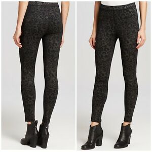 Free People Women Size S Animal Leopard Printe Moto Leggings Black Gray