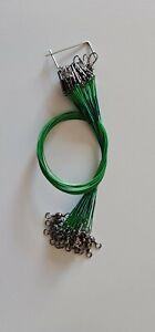 24x Edelstahlvorfach mit Sicherheitswirbel grün 10kg Tragkraft Raubfischvorfach