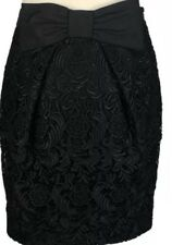 River Island UK 8 Black Bow Lace Tulip Wiggle Skirt Smart Occasion Lace Floral