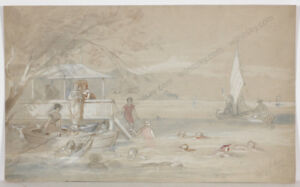 """Vinzenz Katzler (1823-1882) """"Bathing in an Austrian Lake"""", Watercolor, 1875"""