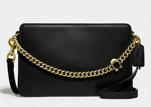 NWT Coach Signature Chain Crossbody in BLACK Leather with Gold Brass  #78801