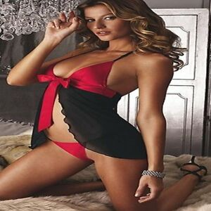 Sexy Black Lingerie Size 8 10 Red Sheer Satin Babydoll G String Nightie Chemise