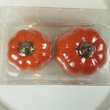 Decorative Stoneware Salt Pepper Shaker Orange Pumpkins New in Box