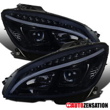 For 2008-2011 Benz W204 C-Class LED DRL Glossy Black Smoke Projector Headlights