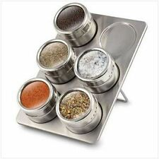 6 Pc Magnetic Herb Spice Rack Tin Jar With Holder Stand Stainless Steel Magnet