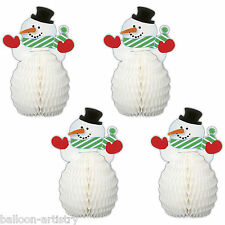 4 Christmas Party Mini Adorable Snowman Honeycomb Table  Decorations