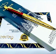 24Ct Gold Plated Red Parker Architecture Jotter Ballpoint Writing Pen Gift Box