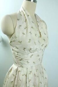 Vintage 50s Marilyn Monroe Style White Silk Halter Dress with Wheat Pattern XXS