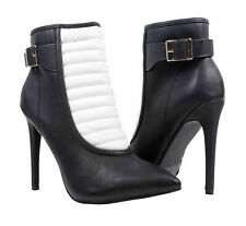 Black White Stiletto Heel Faux Leather Zipper Women Heels Ankle Booties Size 6