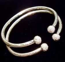 Pair Of Big Popcorn Ball Head Handmade Solid West Indian Sterling Silver Bangles