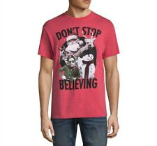 Funny Christmas Tshirt Mens XL Shirt Dont Stop Believing Santa Tee Red Ugly New