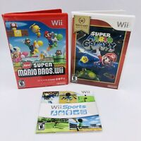 Wii Game Lot Of 3 (New Super Mario Bros. Wii, Super Mario Galaxy & Wii Sports)