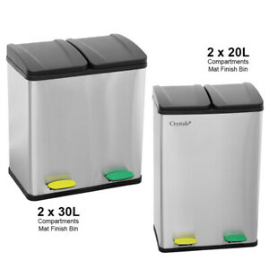 2 in 1 S/Steel Multi Compartment 40L/60L Pedal Bin Recycle Rubbish Waste Bucket