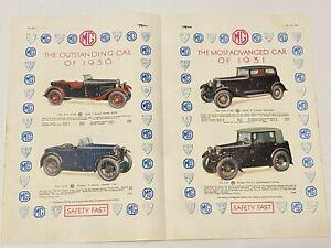 RARE MG Car Original A4 Car Magazine Advert Oct 14th 1930 Car Advertising L6