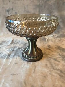 "Valerie Parr Hill Hobnail 7.5"" Glass Bowl with Footed Pedestal Bronze"