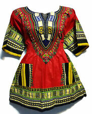Elastic Waist Dashiki African Blouse Women Traditional Dress Top One Size Red