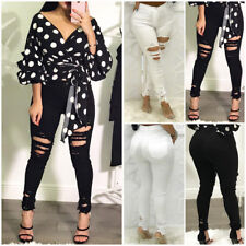 US Women Ripped Pencil Stretch Denim Skinny Jeans Pants Slim High Waist Trousers