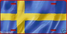 SWEDISH FLAG ARTWORK LICENSE PLATE, can be personalized, MAde in USA