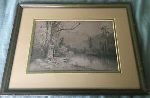 Original Framed Etching 'California Landscape' by 19th Century Artist Julian Rix
