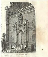 Stampa antica FANO Porta di San Michele Pesaro Marche 1889 Old antique print