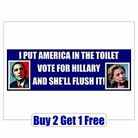 Obama Hillary Toilet 2020 2016 Bumper Sticker - Trump Bernie Sanders GoGo