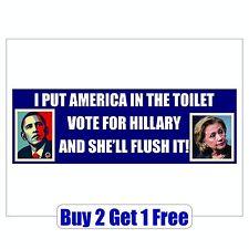 Obama Hillary for Prison 2016 Bumper Sticker - Trump Bernie Sanders GoGoStickers