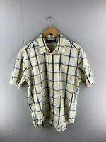 Tommy Hilfiger Mens Yellow Blue Check Vintage Short Sleeve Button Up Shirt Sz M