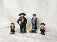 """Vintage Cast Iron Amish Woman Man 4.5"""" Children 2.5"""" Figurine Rare Bonnet Lot 4"""