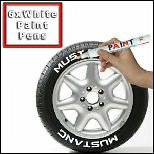 6PCS WHITE CAR TYRE PERMANENT PAINT MARKER PEN SET TIRE ART METAL GLASS PENS UK✅