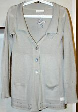 Odd Molly Button Down Embroidered Cardigan With Front Pockets Mohair Beige Sz 1