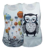 NEW SUMMER WOMEN OWL/BALLOON PRINT SLEEVELESS LADIES T SHIRTS VEST TOP SIZE 8-14