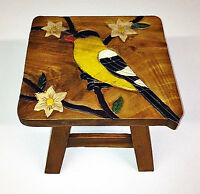 FOOTSTOOLS - GOLDFINCH FOOTSTOOL - GOLDFINCH WOODEN FOOT STOOL