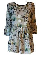 Camicia Camicetta Chiffon Casacca Donna Manica 3/4 Verde LUISA MARIANI Autunno S