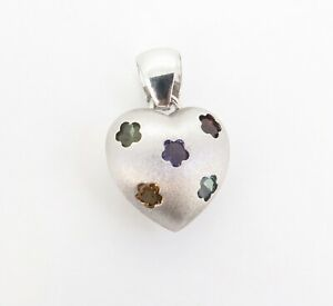.Superb 14ct White Gold Multi Gem Set Puff Heart Pendant Val $1875