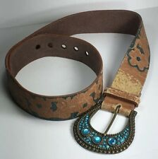 Vintage Distressed Leather Floral Hippie Women's Belt with Rhinestone Buckle