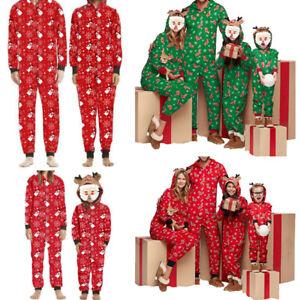 Family Matching Xmas Pyjamas Jumpsuit Hooded Kids Adult Pajama 1Onesie Nightwear